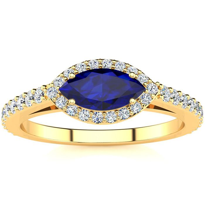 1 Carat Marquise Shape Sapphire & Halo Diamond Ring in 14K Yellow
