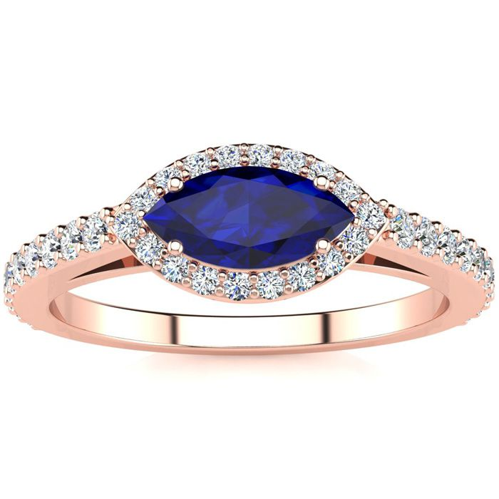 1 Carat Marquise Shape Sapphire & Halo Diamond Ring in 14K Rose G