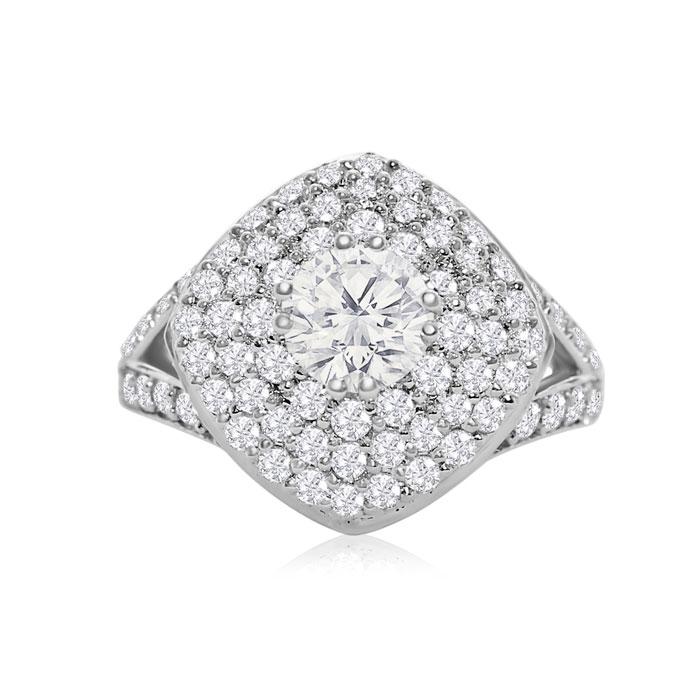 18k White Gold 3 Carat Diamond Ring, H/I by SuperJeweler