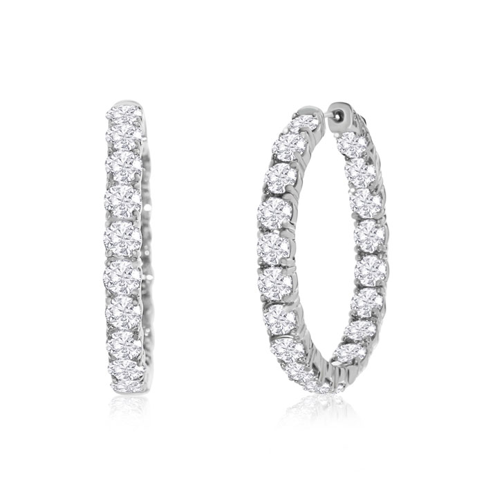 14kwg 7 Carat Diamond Hoop Earring, H/I by Hansa
