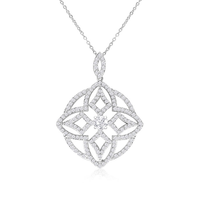 18kw 4 Carat Diamond White Gold Pendant Necklace on Cable Chain,
