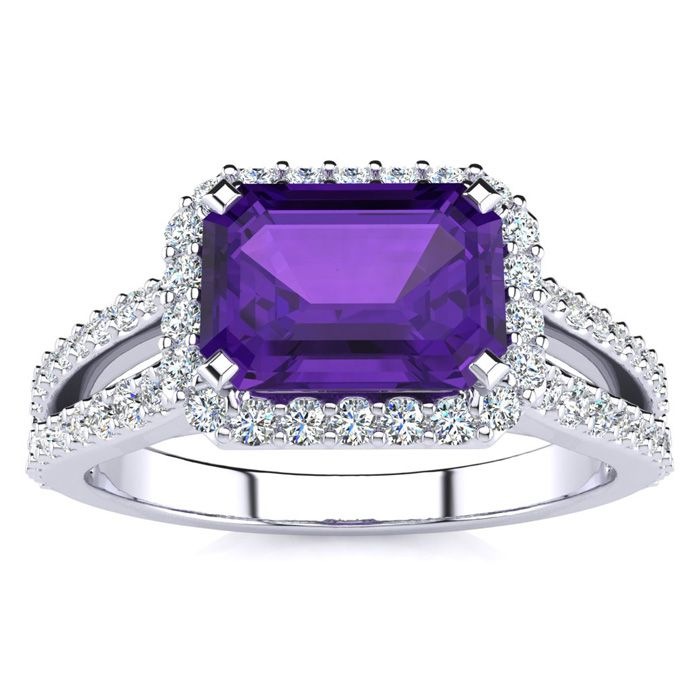 1 1/3 Carat Antique Amethyst & Halo Diamond Ring in 14K White Gold (3.9 g), H/I by SuperJeweler