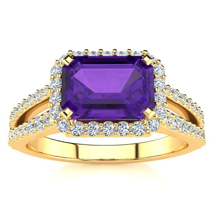 1 1/3 Carat Antique Amethyst & Halo Diamond Ring in 14K Yellow Gold (3.9 g), H/I by SuperJeweler