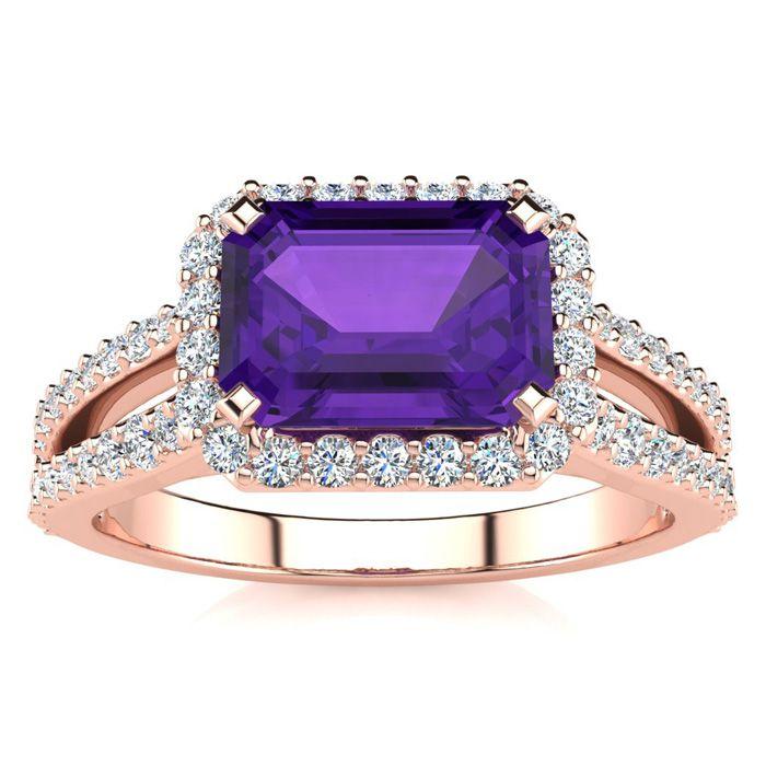 1 1/3 Carat Antique Amethyst & Halo Diamond Ring in 14K Rose Gold