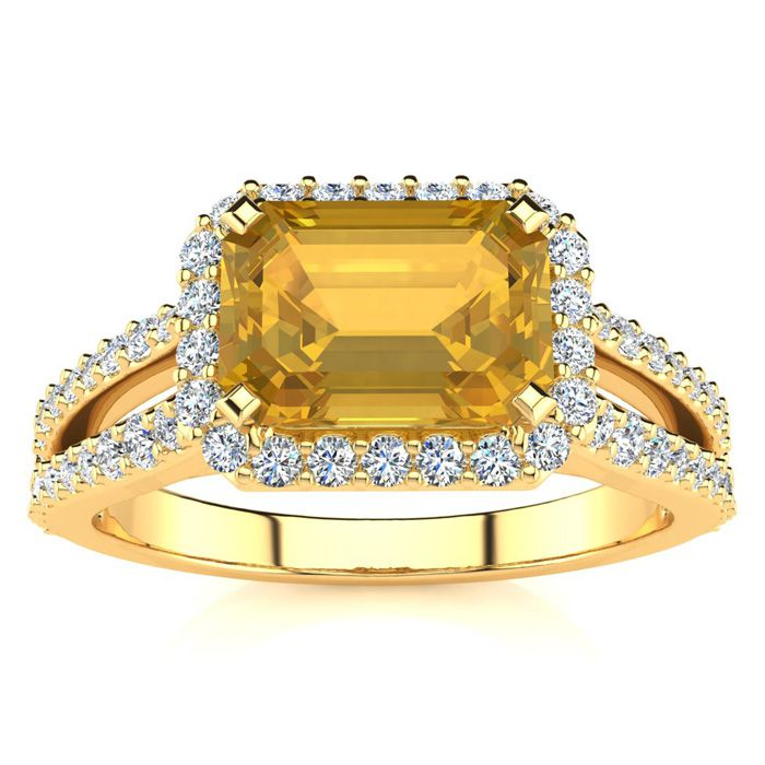 1 1/3 Carat Antique Citrine & Halo Diamond Ring in 14K Yellow Gol