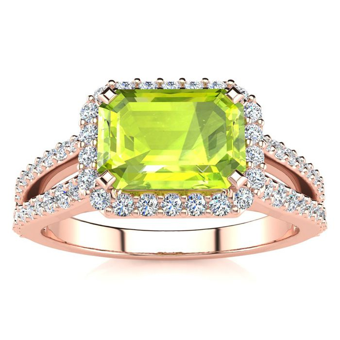 1.5 Carat Antique Peridot & Halo Diamond Ring in 14K Rose Gold (3