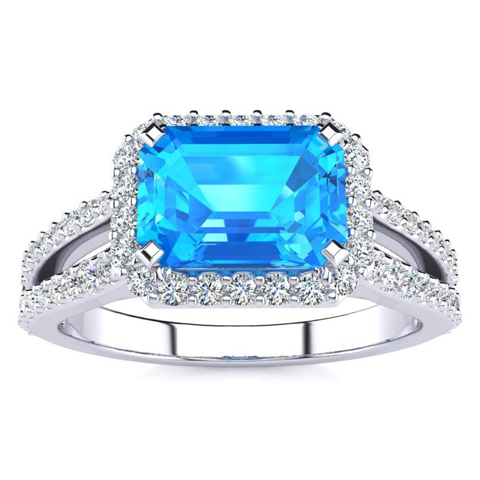1.5 Carat Antique Blue Topaz & Halo Diamond Ring in 14K White Gold (3.9 g), H/I by SuperJeweler