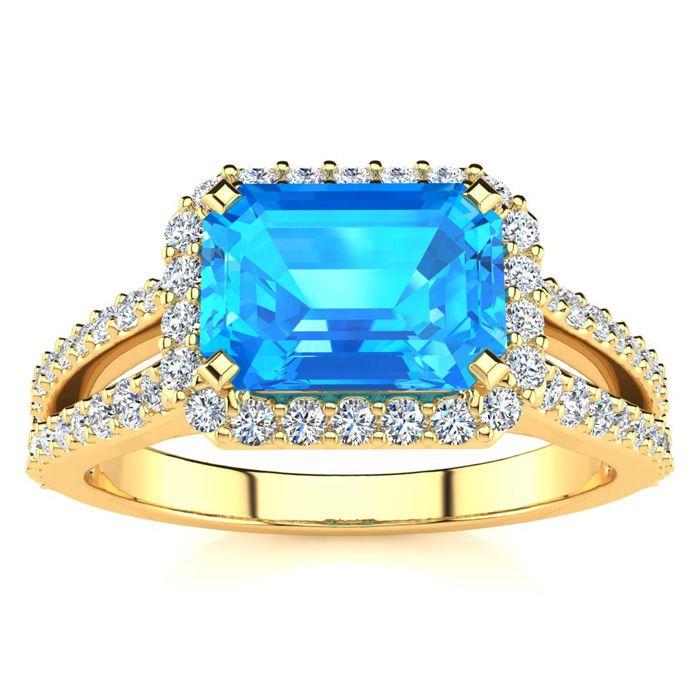 1.5 Carat Antique Blue Topaz & Halo Diamond Ring in 14K Yellow Go