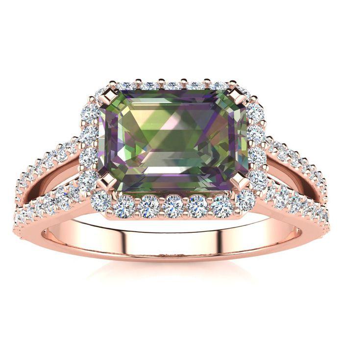 1 1/3 Carat Antique Mystic Topaz & Halo Diamond Ring in 14K Rose