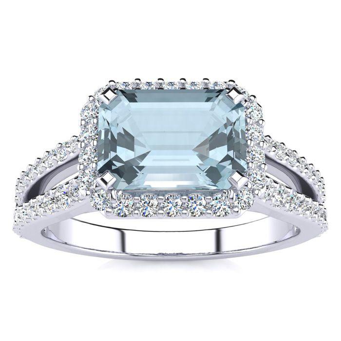 1 1/3 Carat Antique Aquamarine & Halo Diamond Ring in 14K White G