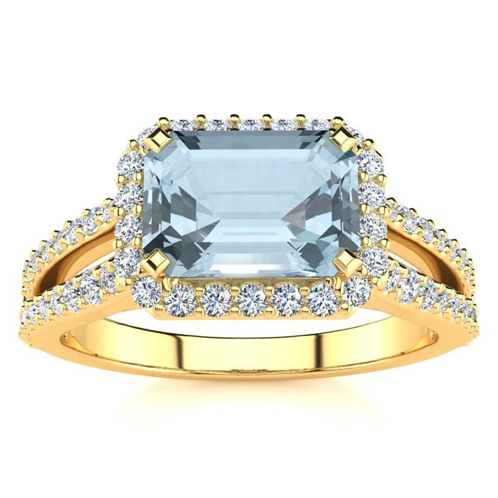1 1/3 Carat Antique Aquamarine & Halo Diamond Ring in 14K Yellow