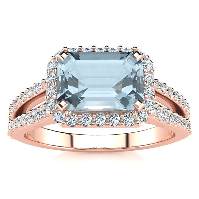 1 1/3 Carat Antique Aquamarine & Halo Diamond Ring in 14K Rose Gold (3.9 g), H/I by SuperJeweler