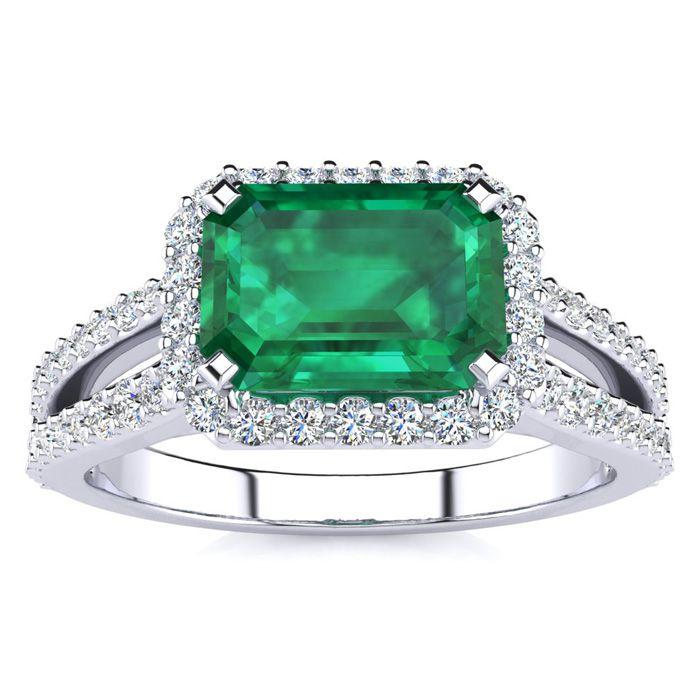 1 1/3 Carat Antique Emerald Cut & Halo Diamond Ring in 14K White
