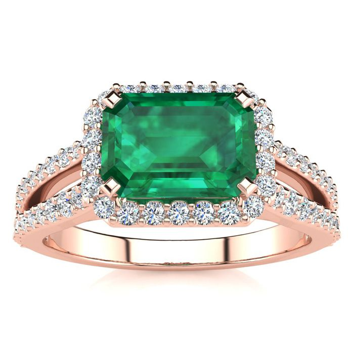 1 1/3 Carat Antique Emerald Cut & Halo Diamond Ring in 14K Rose G