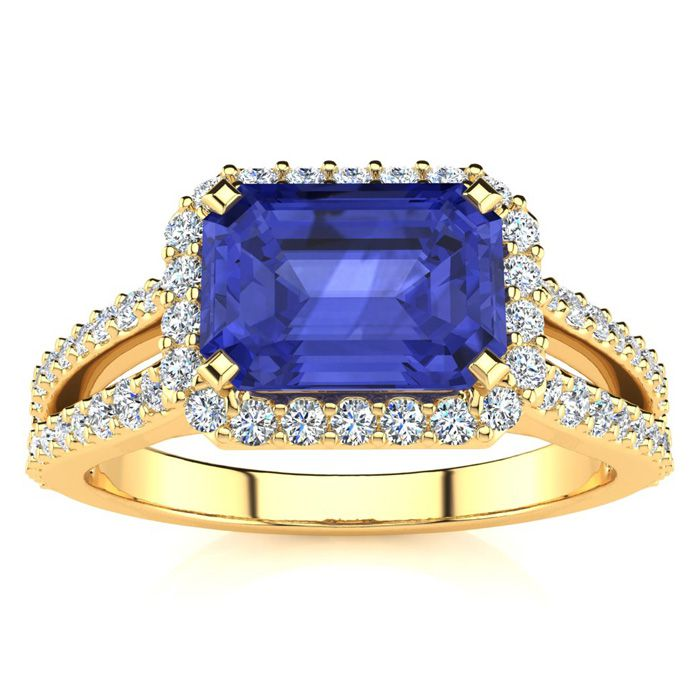 1.5 Carat Antique Tanzanite & Halo Diamond Ring in 14K Yellow Gold (3.9 g), H/I by SuperJeweler
