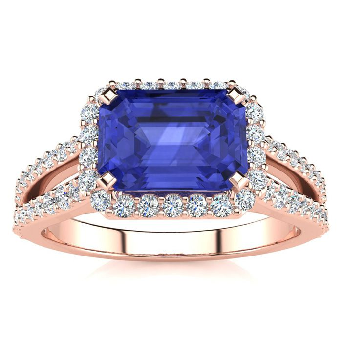 1.5 Carat Antique Tanzanite & Halo Diamond Ring in 14K Rose Gold