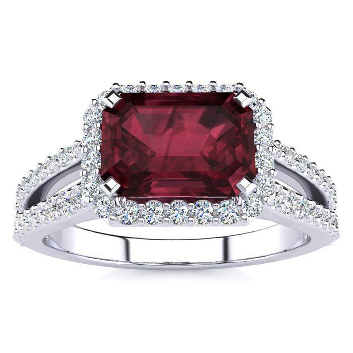 1 3/4 Carat Antique Garnet & Halo Diamond Ring in 14K White Gold