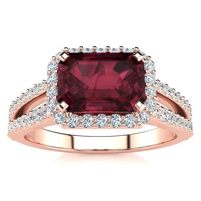 1 3/4 Carat Antique Garnet & Halo Diamond Ring in 14K Rose Gold (