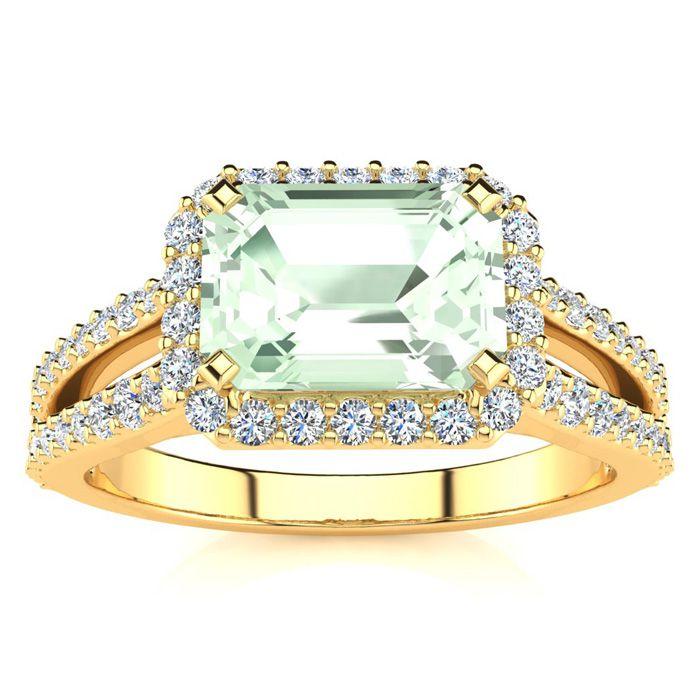 1 1/3 Carat Antique Green Amethyst & Halo Diamond Ring in 14K Yel