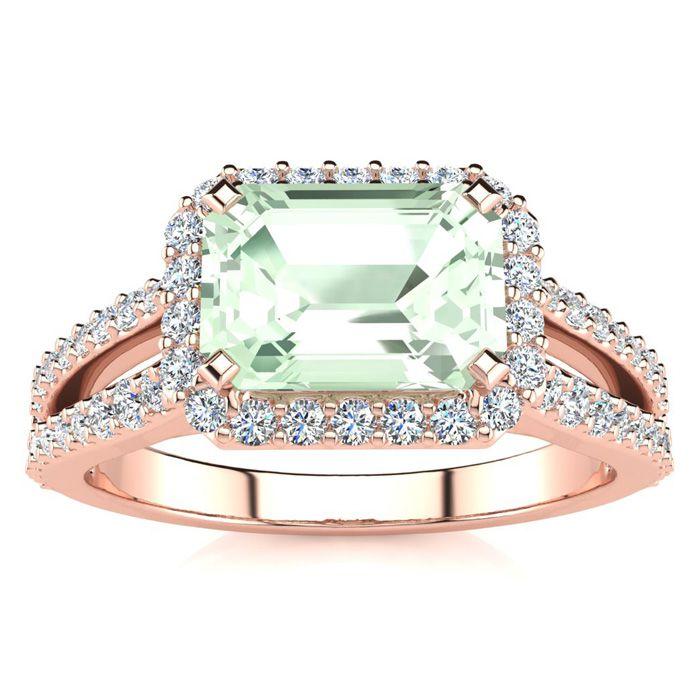 1 1/3 Carat Antique Green Amethyst & Halo Diamond Ring in 14K Rose Gold (3.9 g), H/I by SuperJeweler
