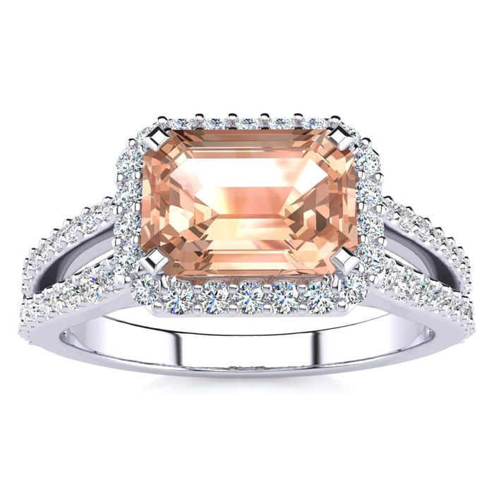 1 1/3 Carat Antique Morganite & Halo Diamond Ring in 14K White Go