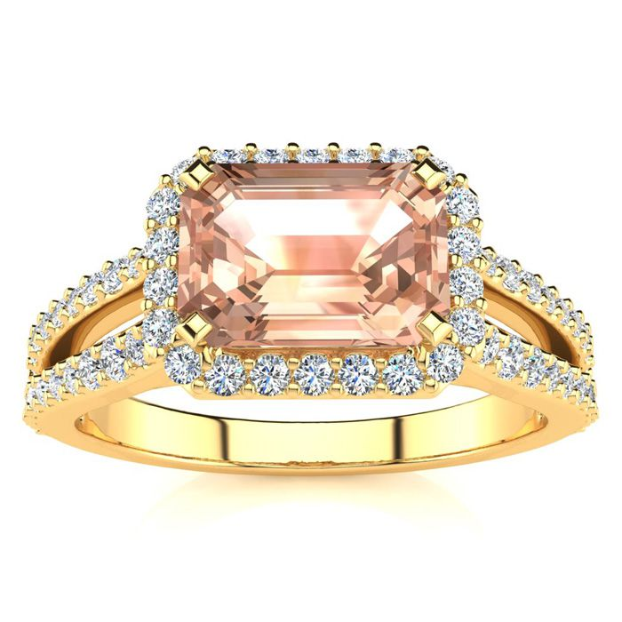 1 1/3 Carat Antique Morganite & Halo Diamond Ring in 14K Yellow G