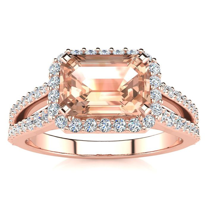 1 1/3 Carat Antique Morganite & Halo Diamond Ring in 14K Rose Gol