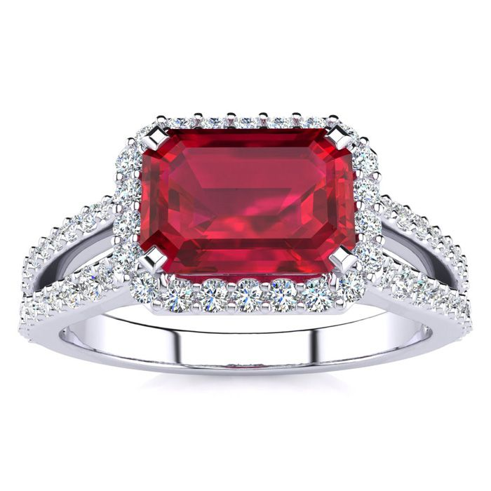 1.5 Carat Antique Ruby & Halo Diamond Ring in 14K White Gold (3.9