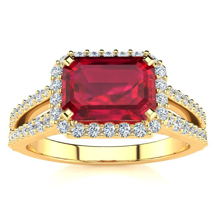 1.5 Carat Antique Ruby & Halo Diamond Ring in 14K Yellow Gold (3.