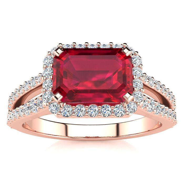 1.5 Carat Antique Ruby & Halo Diamond Ring in 14K Rose Gold (3.9