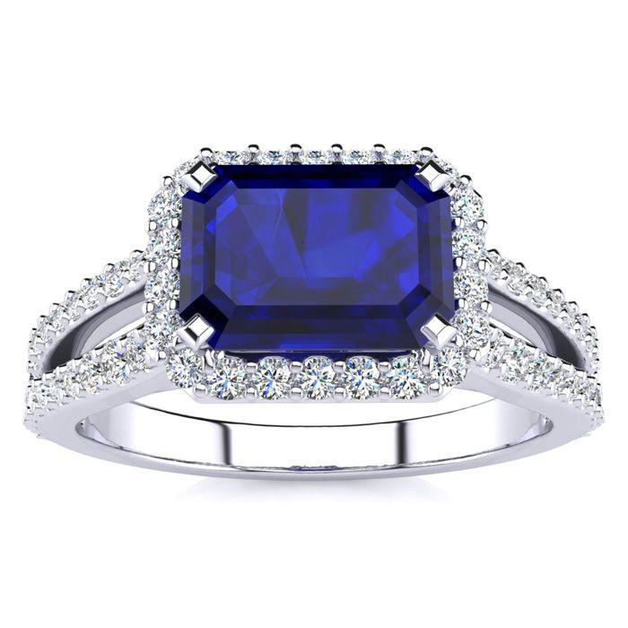 1.5 Carat Antique Sapphire & Halo Diamond Ring in 14K White Gold