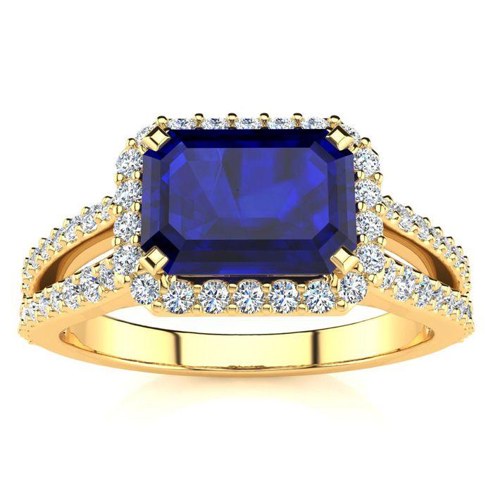 1.5 Carat Antique Sapphire & Halo Diamond Ring in 14K Yellow Gold