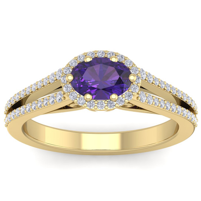 1 Carat Oval Shape Antique Amethyst & Halo Diamond Ring in 14K Ye