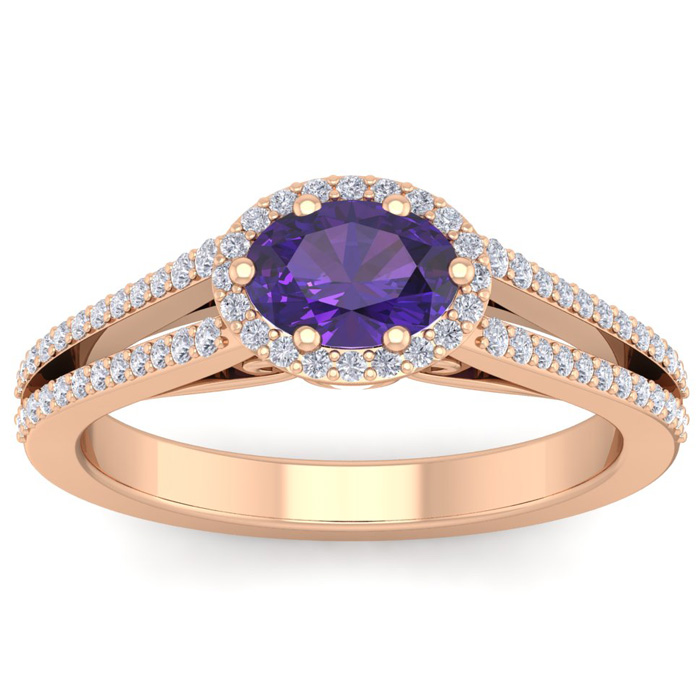 1 Carat Oval Shape Antique Amethyst & Halo Diamond Ring in 14K Ro
