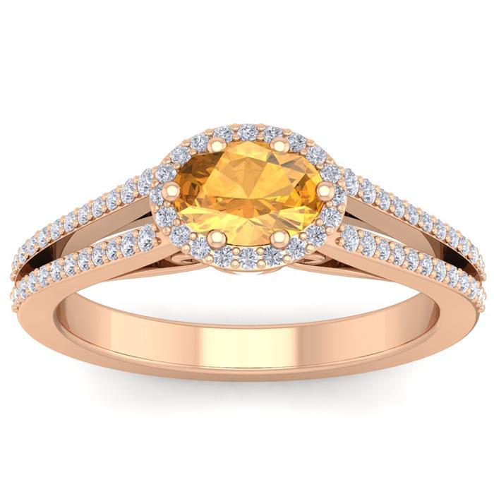 1.25 Carat Oval Shape Antique Citrine & Halo Diamond Ring in 14K