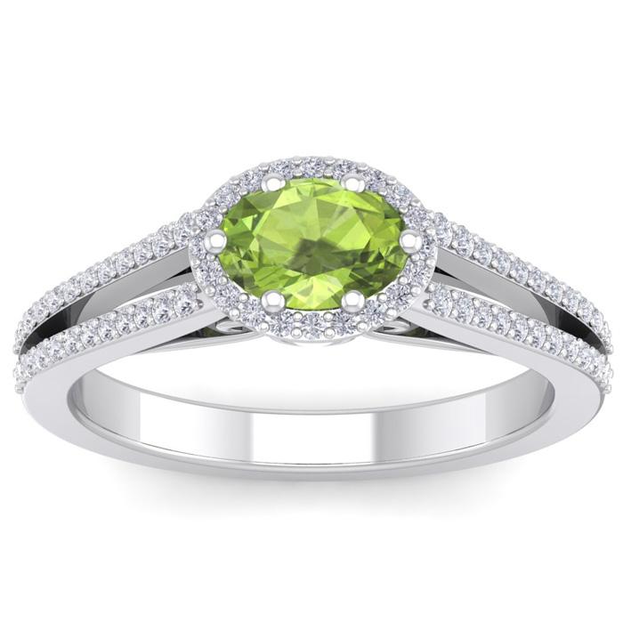 1 1/3 Carat Oval Shape Antique Peridot & Halo Diamond Ring in 14K