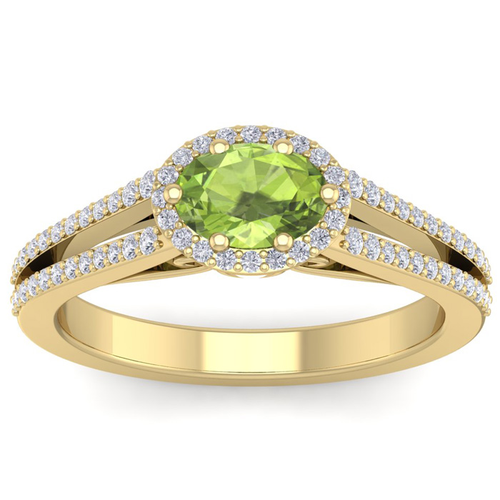 1 1/3 Carat Oval Shape Antique Peridot & Halo Diamond Ring in 14K
