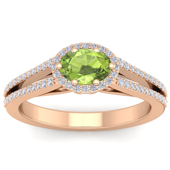 1 1/3 Carat Oval Shape Antique Peridot & Halo Diamond Ring in 14K Rose Gold (3.8 g), H/I by SuperJeweler