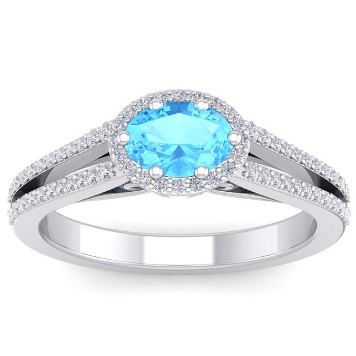 1.5 Carat Oval Shape Antique Blue Topaz & Halo Diamond Ring in 14