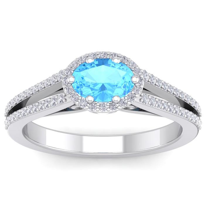 1.5 Carat Oval Shape Antique Blue Topaz & Halo Diamond Ring in 14K White Gold (3.8 g), H/I by SuperJeweler