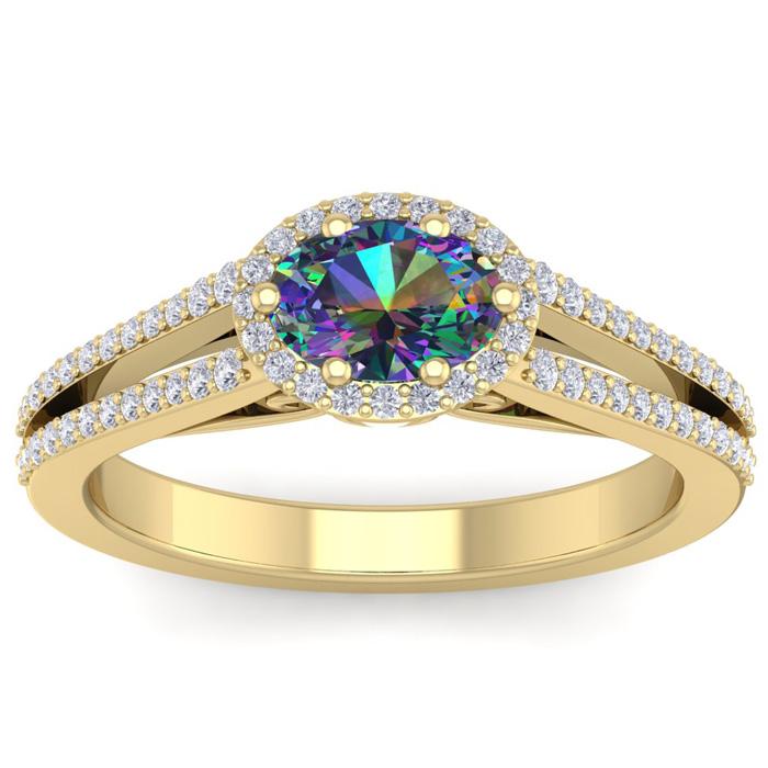 1 Carat Oval Shape Antique Mystic Topaz & Halo Diamond Ring in 14