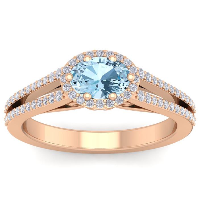 1.25 Carat Oval Shape Antique Aquamarine & Halo Diamond Ring in 1