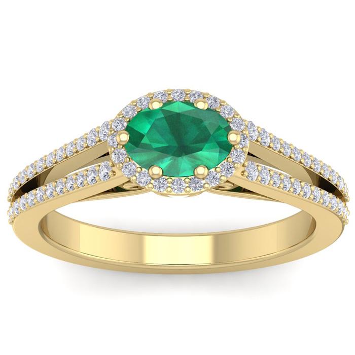 1.25 Carat Oval Shape Antique Emerald Cut & Halo Diamond Ring in