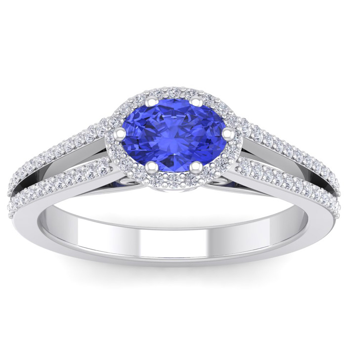 1 1/3 Carat Oval Shape Antique Tanzanite & Halo Diamond Ring in 1