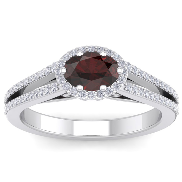 1.5 Carat Oval Shape Antique Garnet & Halo Diamond Ring in 14K Wh