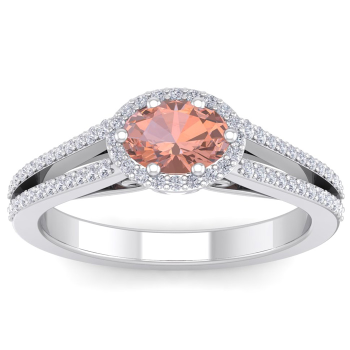1.25 Carat Oval Shape Antique Morganite & Halo Diamond Ring in 14