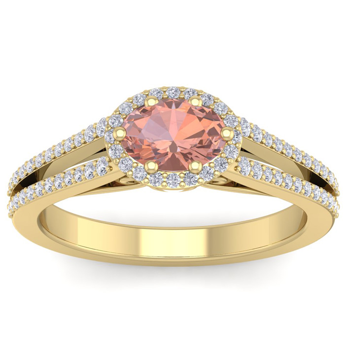 1.25 Carat Oval Shape Antique Morganite & Halo Diamond Ring in 14