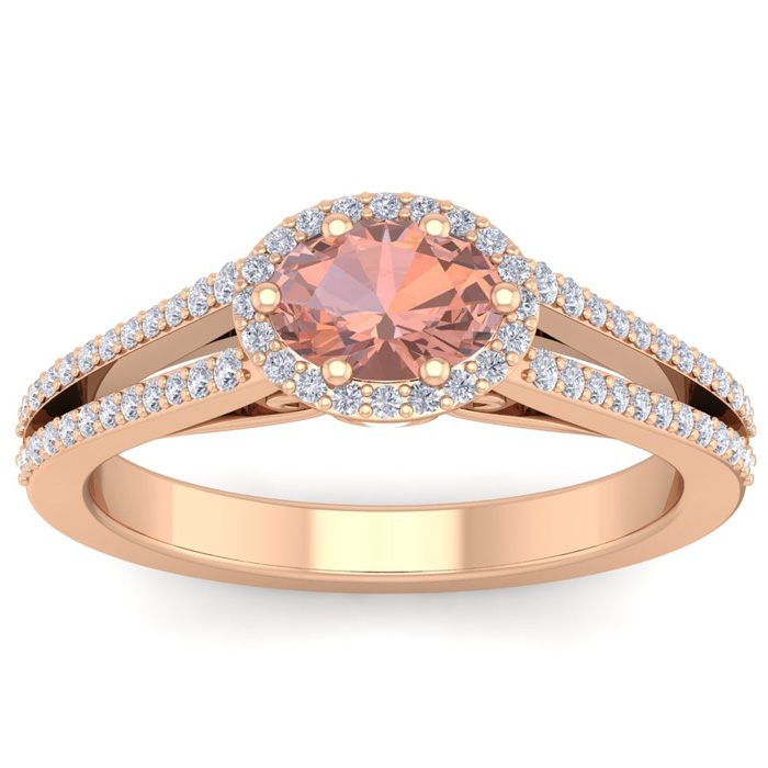 1.25 Carat Oval Shape Antique Morganite & Halo Diamond Ring in 14K Rose Gold (3.8 g), H/I by SuperJeweler