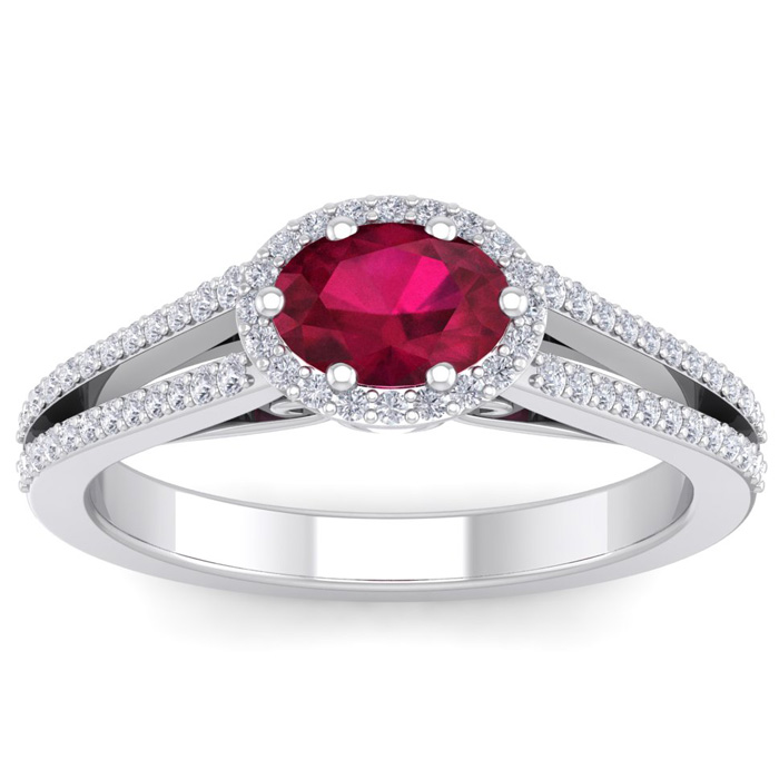 1 1/3 Carat Oval Shape Antique Ruby & Halo Diamond Ring in 14K Wh