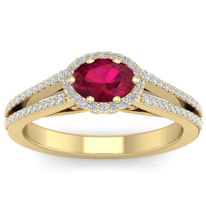 1 1/3 Carat Oval Shape Antique Ruby & Halo Diamond Ring in 14K Yellow Gold (3.8 g), H/I by SuperJeweler